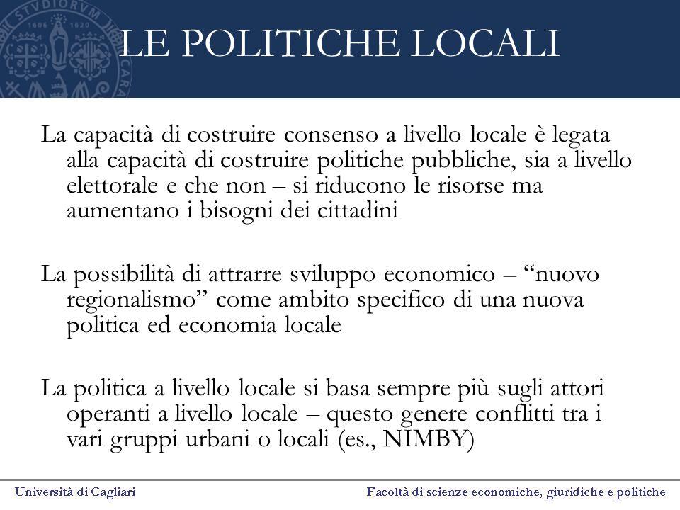 LE POLITICHE LOCALI