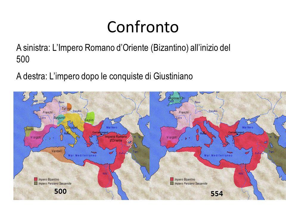 Confronto A sinistra: L'Impero Romano d'Oriente (Bizantino) all'inizio del 500. A destra: L'impero dopo le conquiste di Giustiniano.