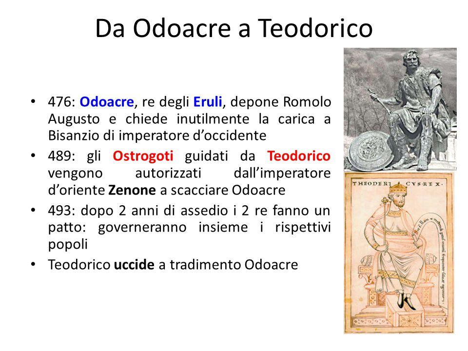 Da Odoacre a Teodorico 476: Odoacre, re degli Eruli, depone Romolo Augusto e chiede inutilmente la carica a Bisanzio di imperatore d'occidente.