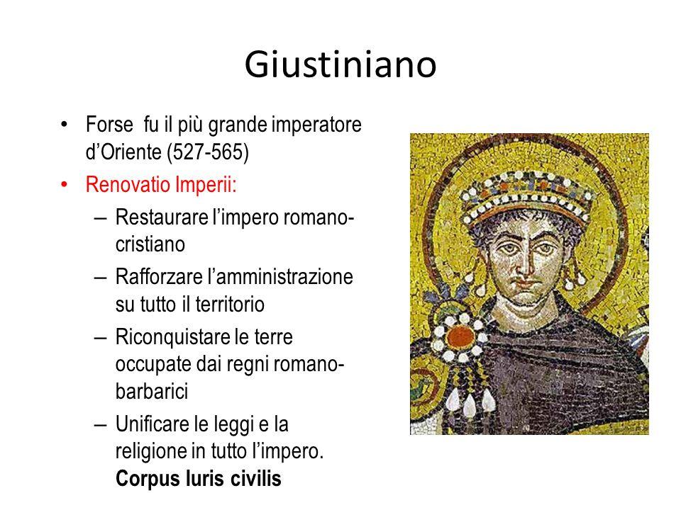 Giustiniano Forse fu il più grande imperatore d'Oriente (527-565)