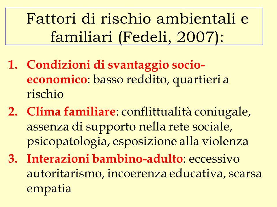 Fattori di rischio ambientali e familiari (Fedeli, 2007):
