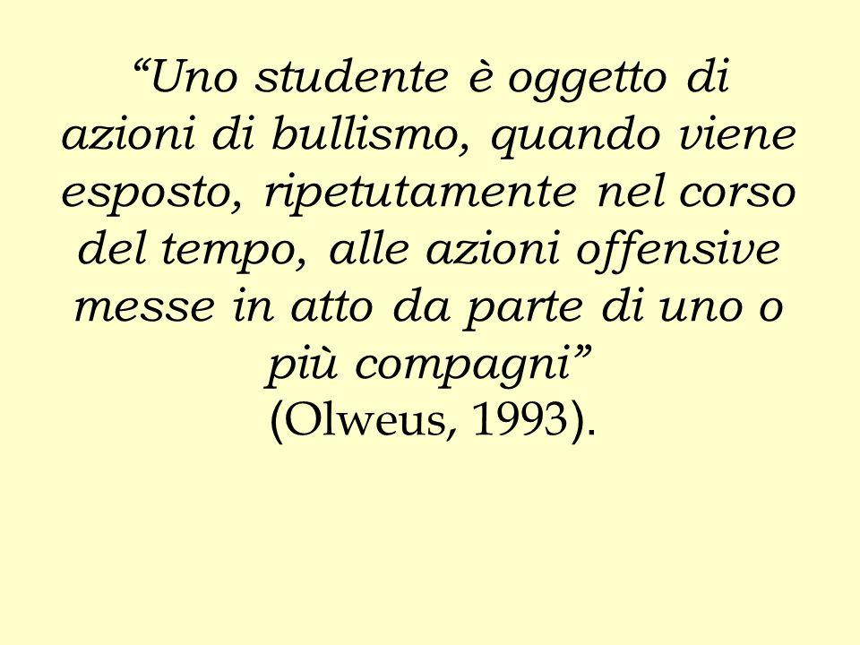 Uno studente è oggetto di azioni di bullismo, quando viene esposto, ripetutamente nel corso del tempo, alle azioni offensive messe in atto da parte di uno o più compagni (Olweus, 1993).