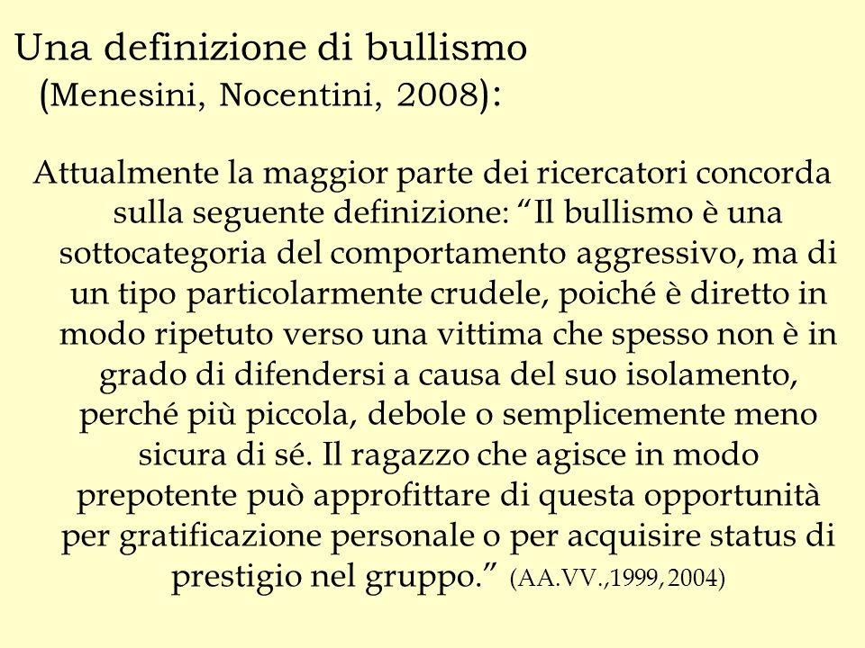 Una definizione di bullismo (Menesini, Nocentini, 2008):