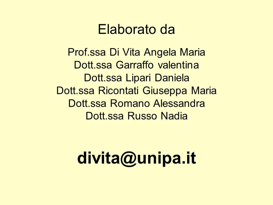 divita@unipa.it Elaborato da Prof.ssa Di Vita Angela Maria
