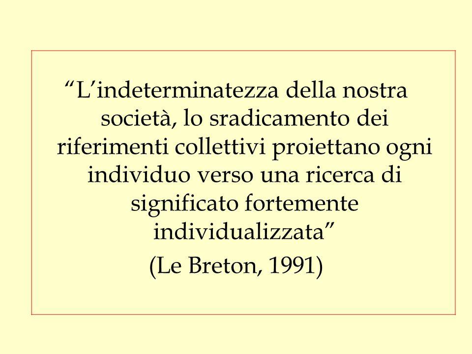 L'indeterminatezza della nostra società, lo sradicamento dei riferimenti collettivi proiettano ogni individuo verso una ricerca di significato fortemente individualizzata