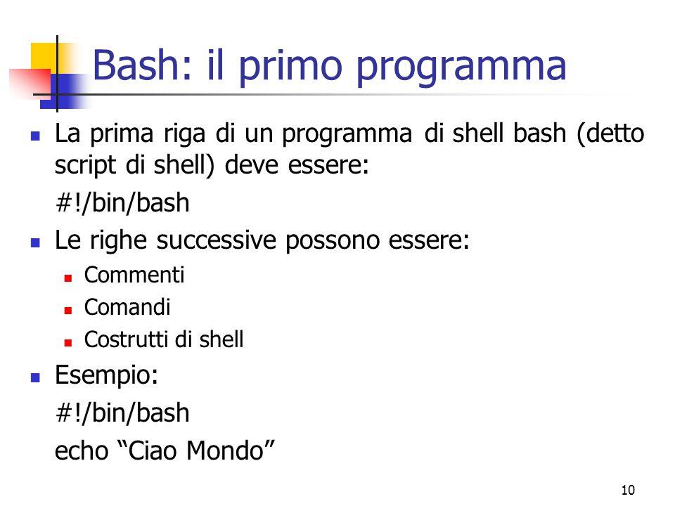 Bash: il primo programma