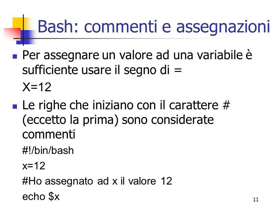 Bash: commenti e assegnazioni