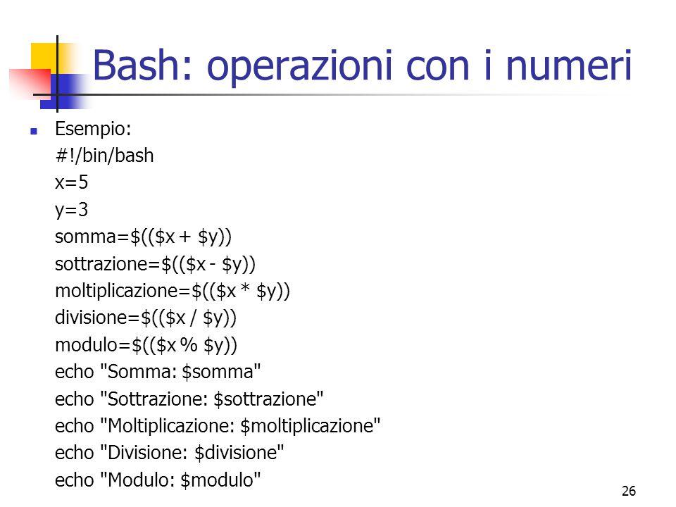 Bash: operazioni con i numeri