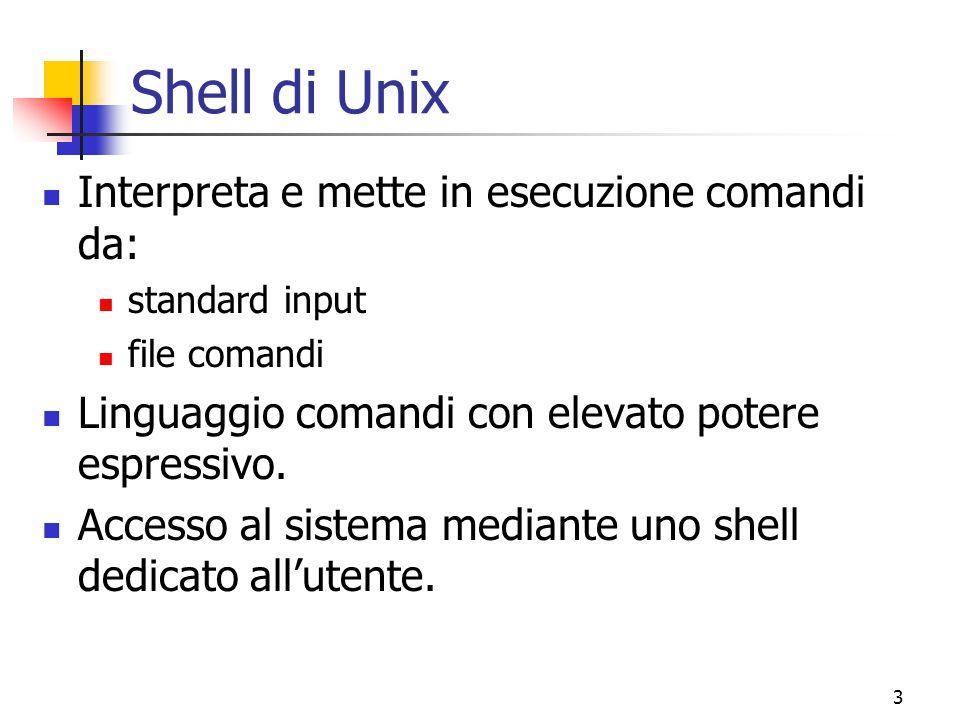 Shell di Unix Interpreta e mette in esecuzione comandi da: