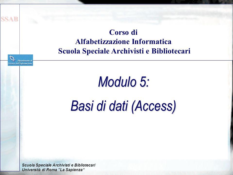 Modulo 5: Basi di dati (Access)