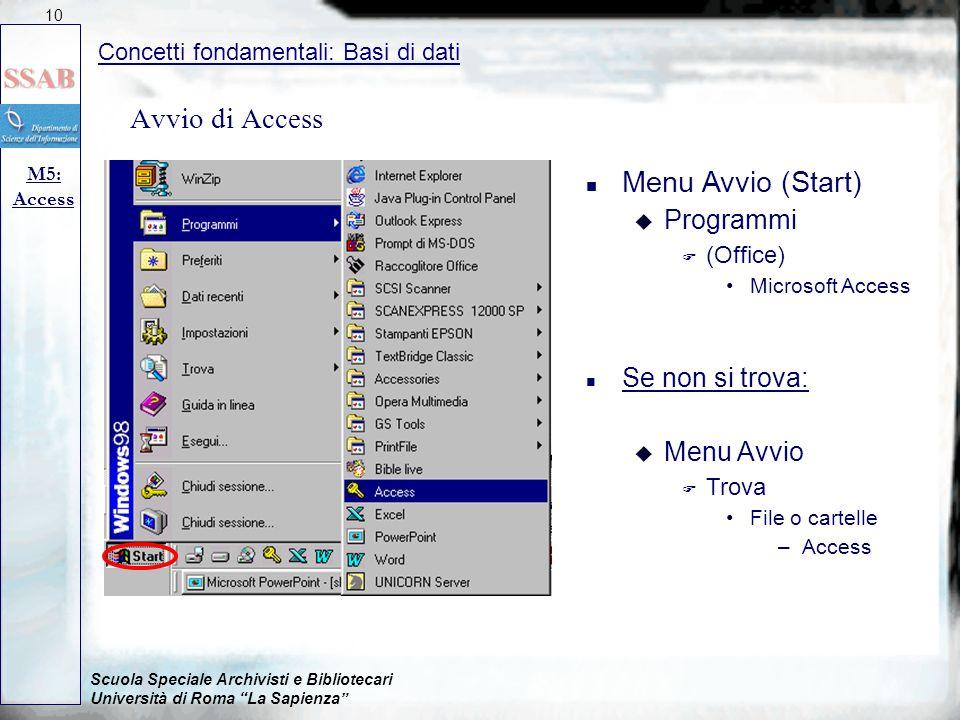 Avvio di Access Menu Avvio (Start) Programmi Se non si trova: