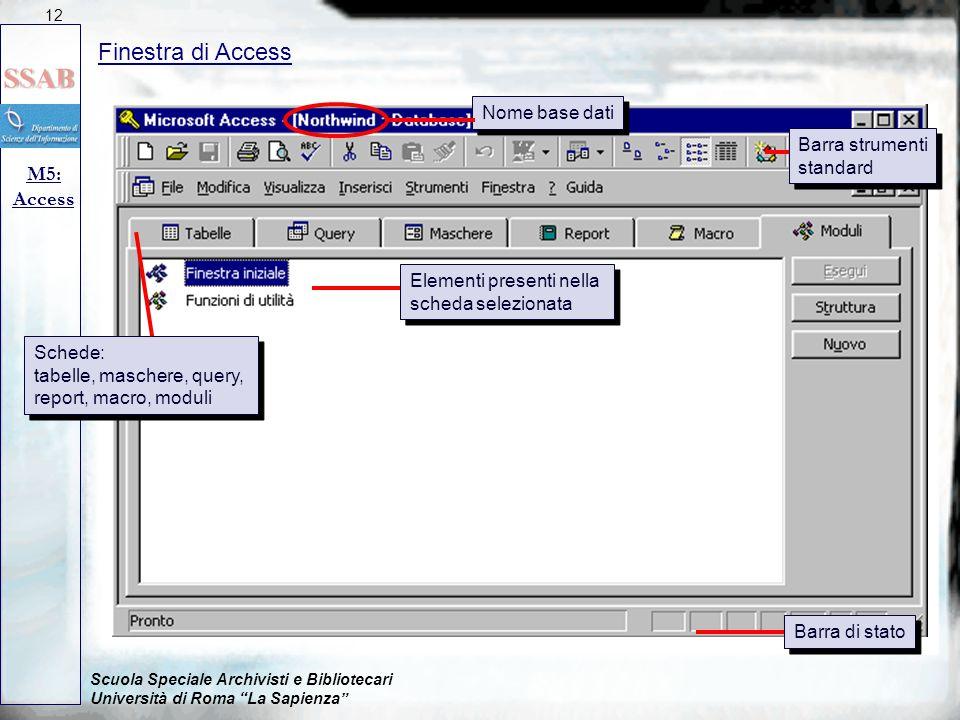 Finestra di Access M5: Access Nome base dati Barra strumenti standard