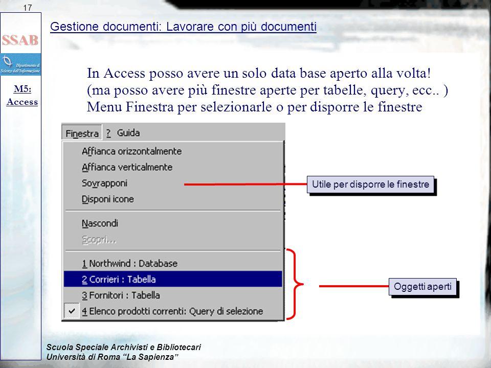 In Access posso avere un solo data base aperto alla volta!