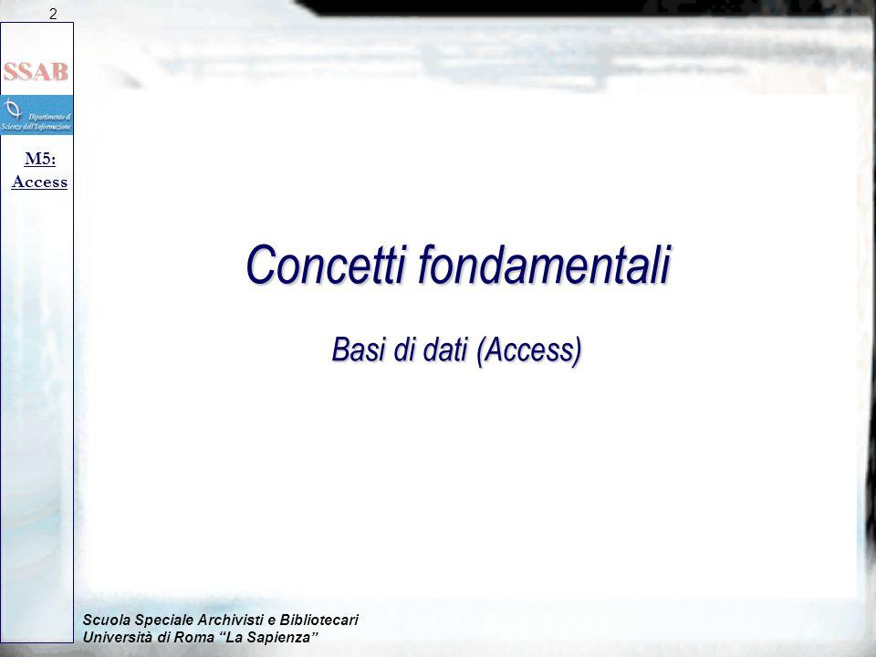 Concetti fondamentali Basi di dati (Access)
