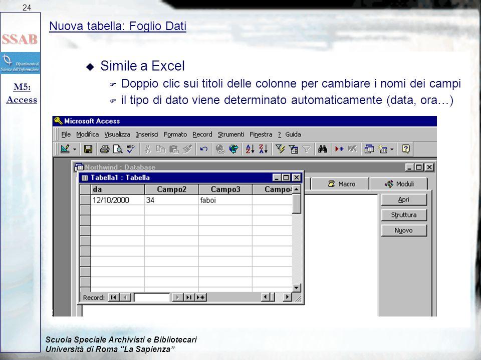 Simile a Excel Nuova tabella: Foglio Dati