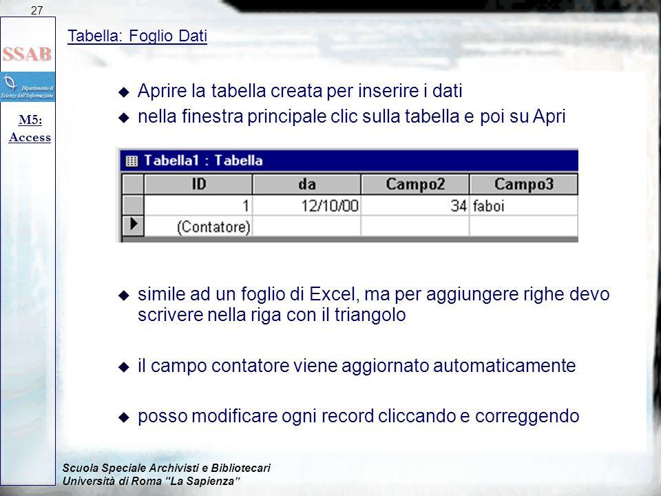 Aprire la tabella creata per inserire i dati