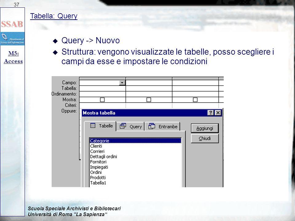 37 09/04/2017. Tabella: Query. Query -> Nuovo.