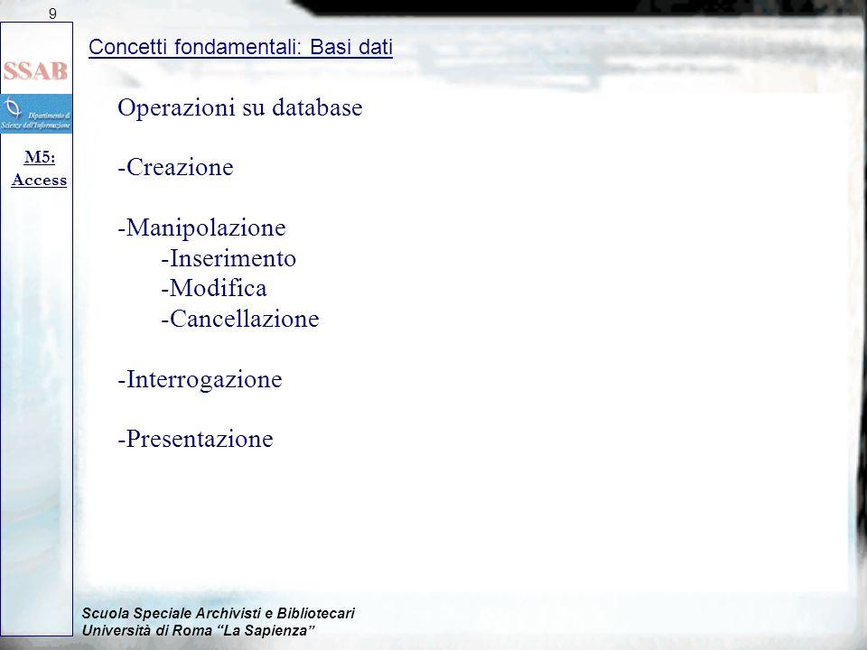Operazioni su database Creazione Manipolazione Inserimento Modifica