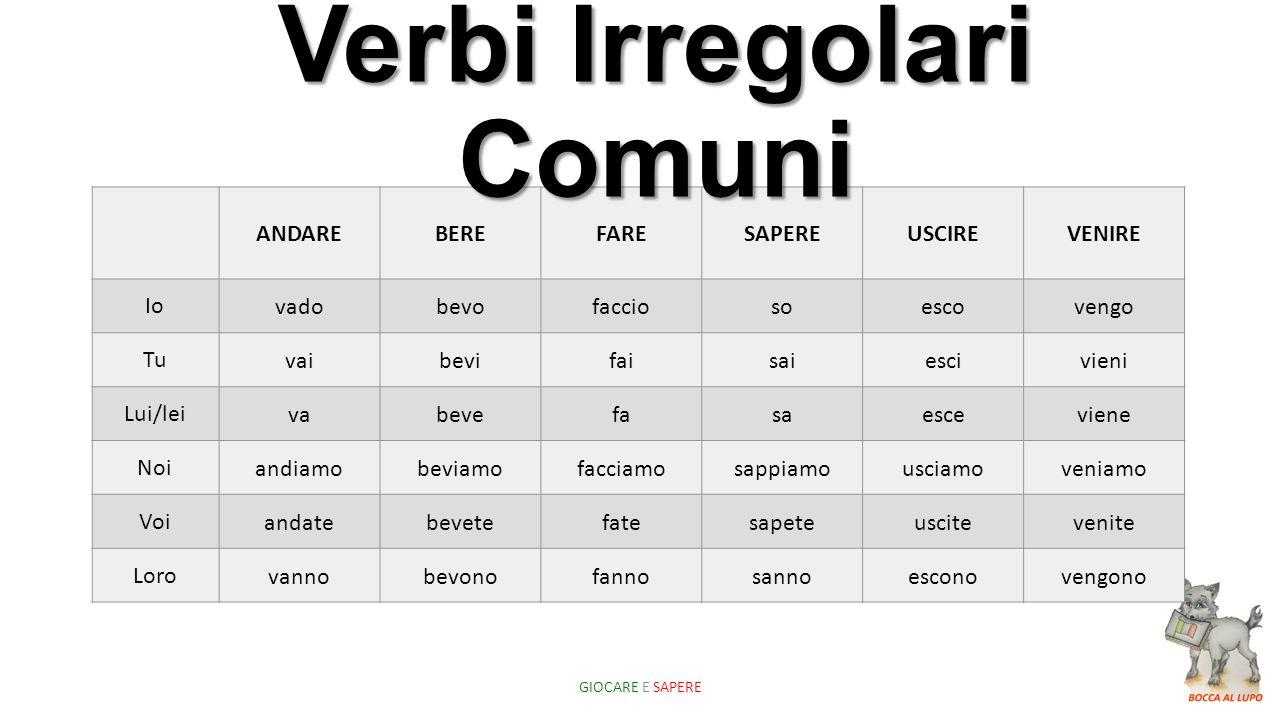 Verbi Irregolari Comuni