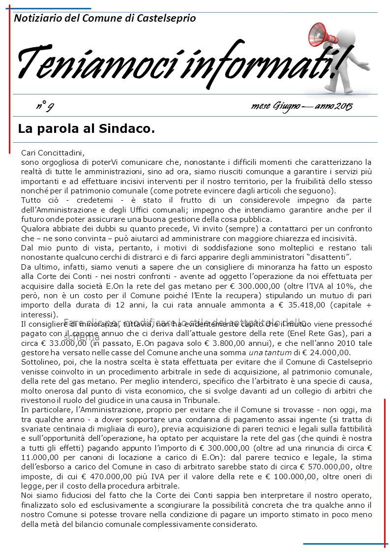 Teniamoci informati! Notiziario del Comune di Castelseprio