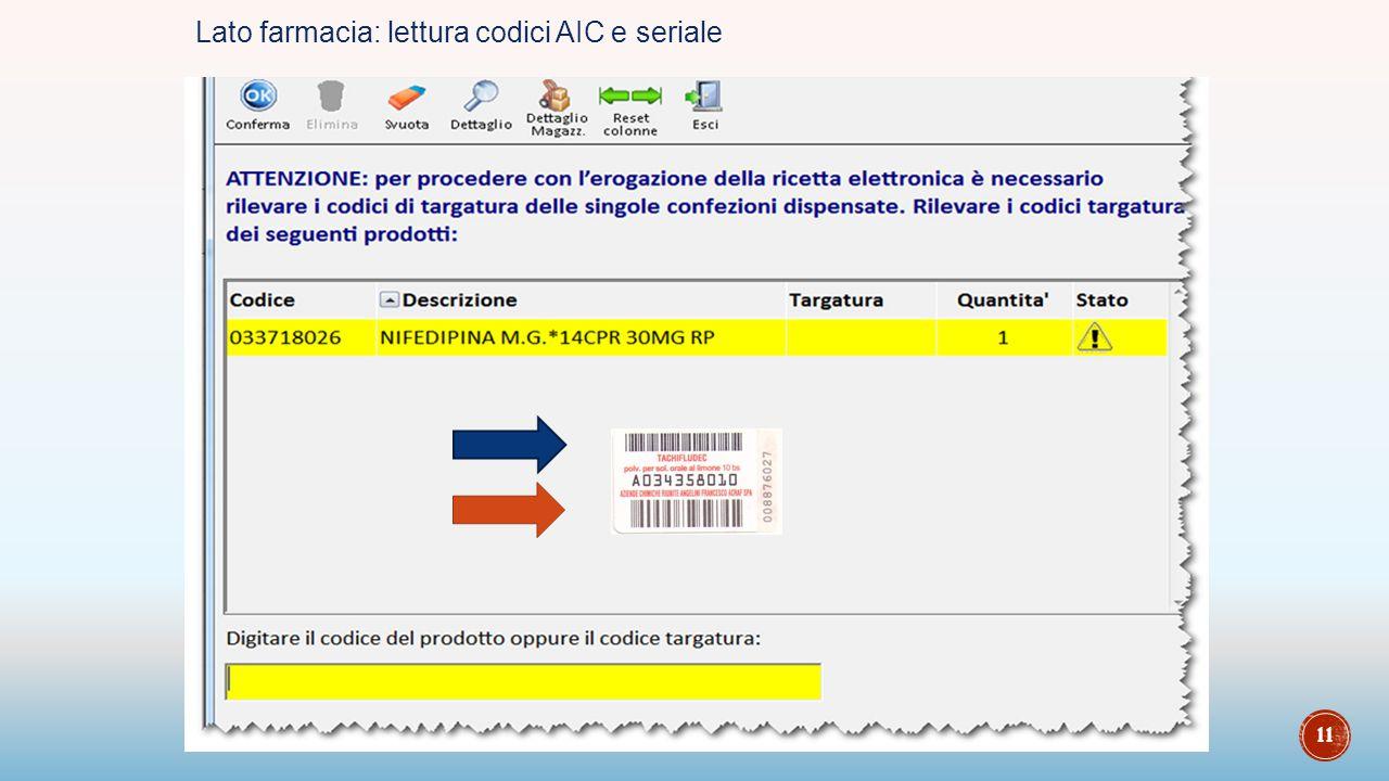 Lato farmacia: lettura codici AIC e seriale