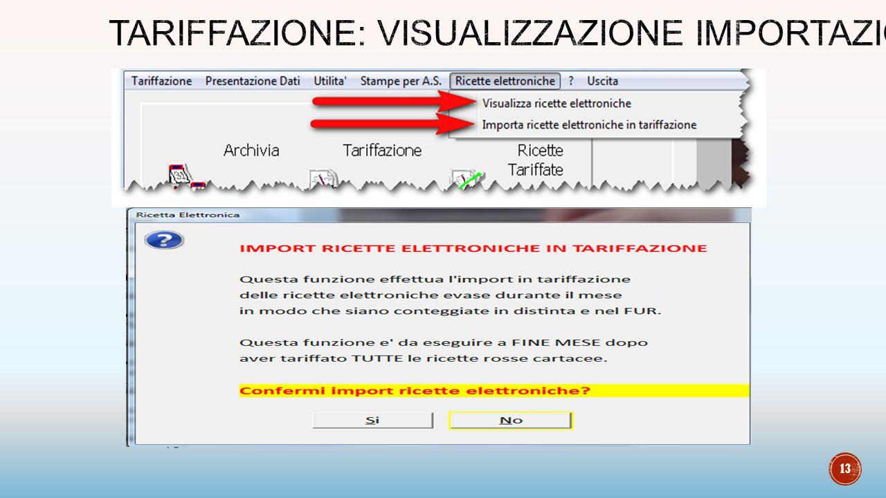 Tariffazione: visualizzazione importazione
