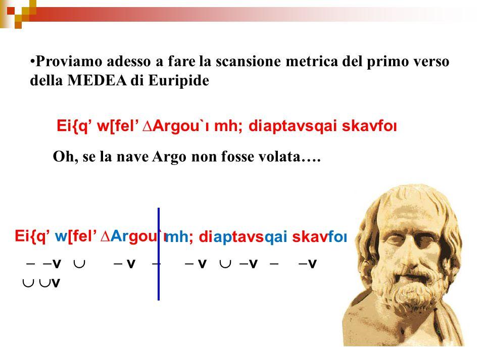 Proviamo adesso a fare la scansione metrica del primo verso della MEDEA di Euripide