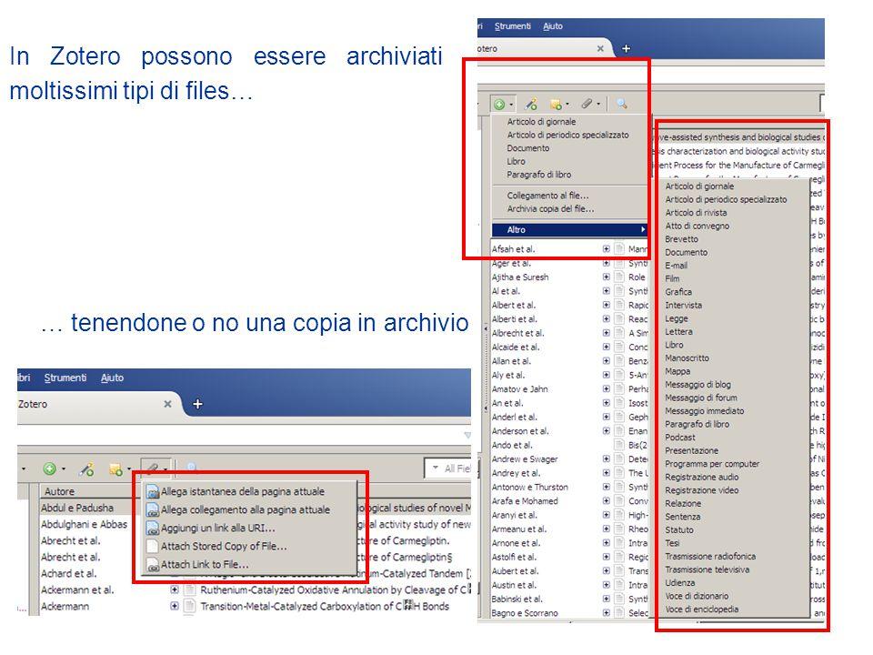 In Zotero possono essere archiviati moltissimi tipi di files…