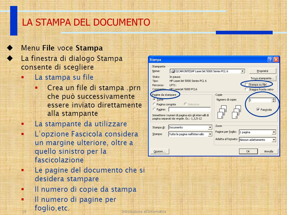 LA STAMPA DEL DOCUMENTO