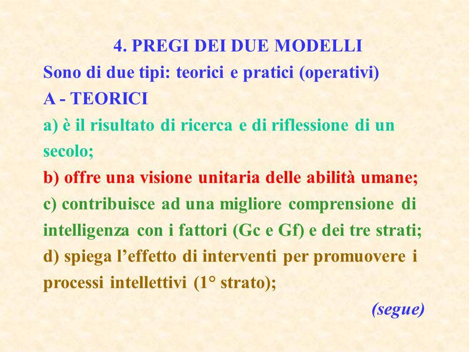 4. PREGI DEI DUE MODELLI Sono di due tipi: teorici e pratici (operativi) A - TEORICI. a) è il risultato di ricerca e di riflessione di un secolo;