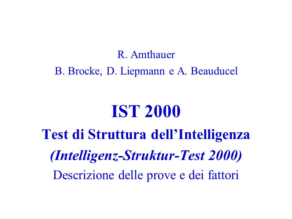 Test di Struttura dell'Intelligenza (Intelligenz-Struktur-Test 2000)