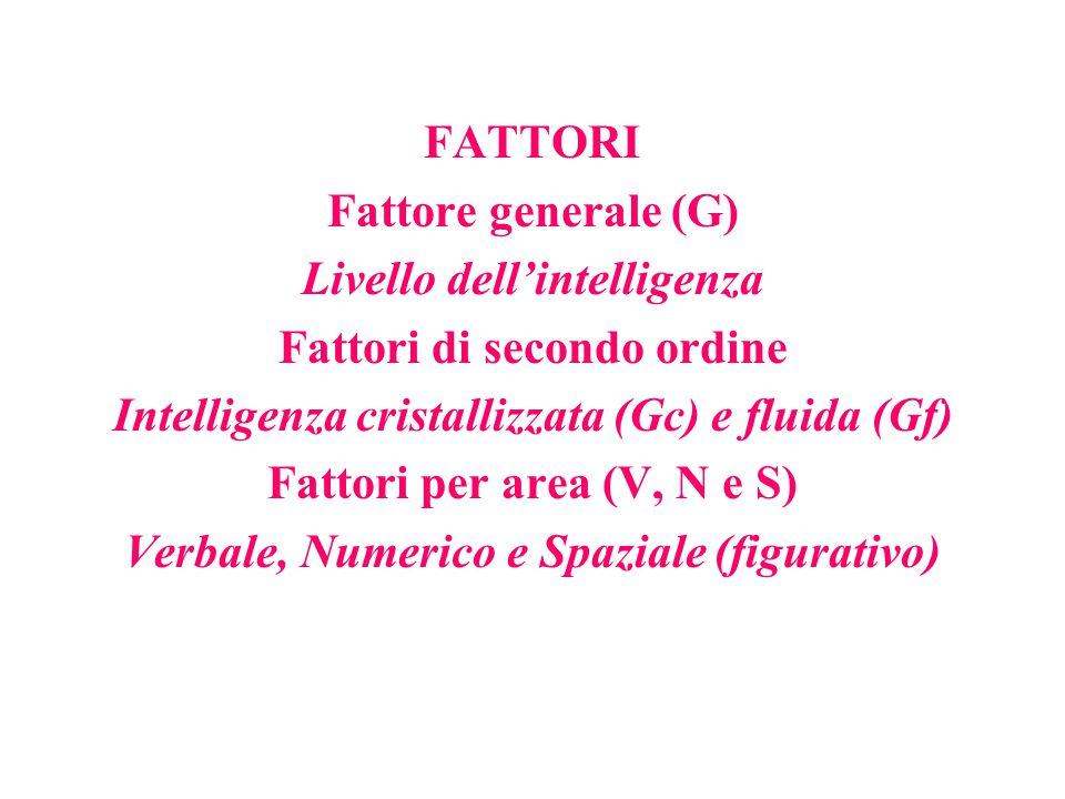 FATTORI Fattore generale (G) Livello dell'intelligenza Fattori di secondo ordine Intelligenza cristallizzata (Gc) e fluida (Gf) Fattori per area (V, N e S) Verbale, Numerico e Spaziale (figurativo)
