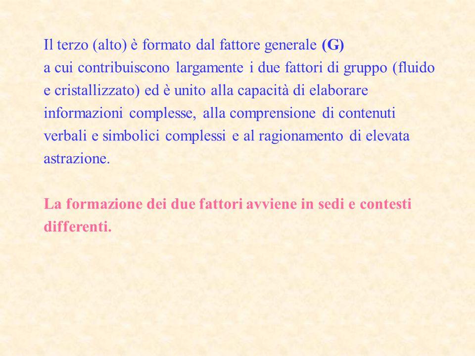 Il terzo (alto) è formato dal fattore generale (G)