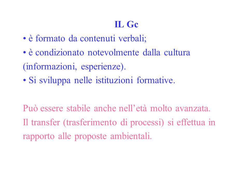 IL Gc è formato da contenuti verbali; è condizionato notevolmente dalla cultura (informazioni, esperienze).