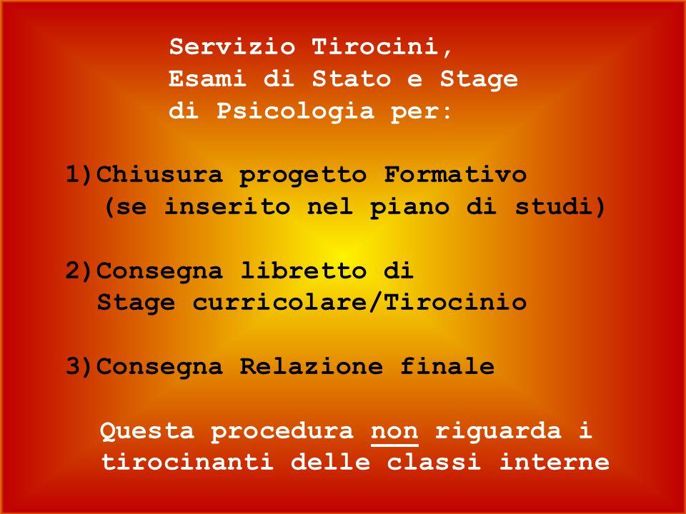 Servizio Tirocini,. Esami di Stato e Stage