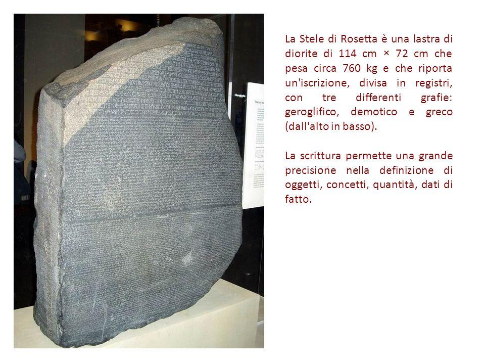 La Stele di Rosetta è una lastra di diorite di 114 cm × 72 cm che pesa circa 760 kg e che riporta un iscrizione, divisa in registri, con tre differenti grafie: geroglifico, demotico e greco (dall alto in basso).