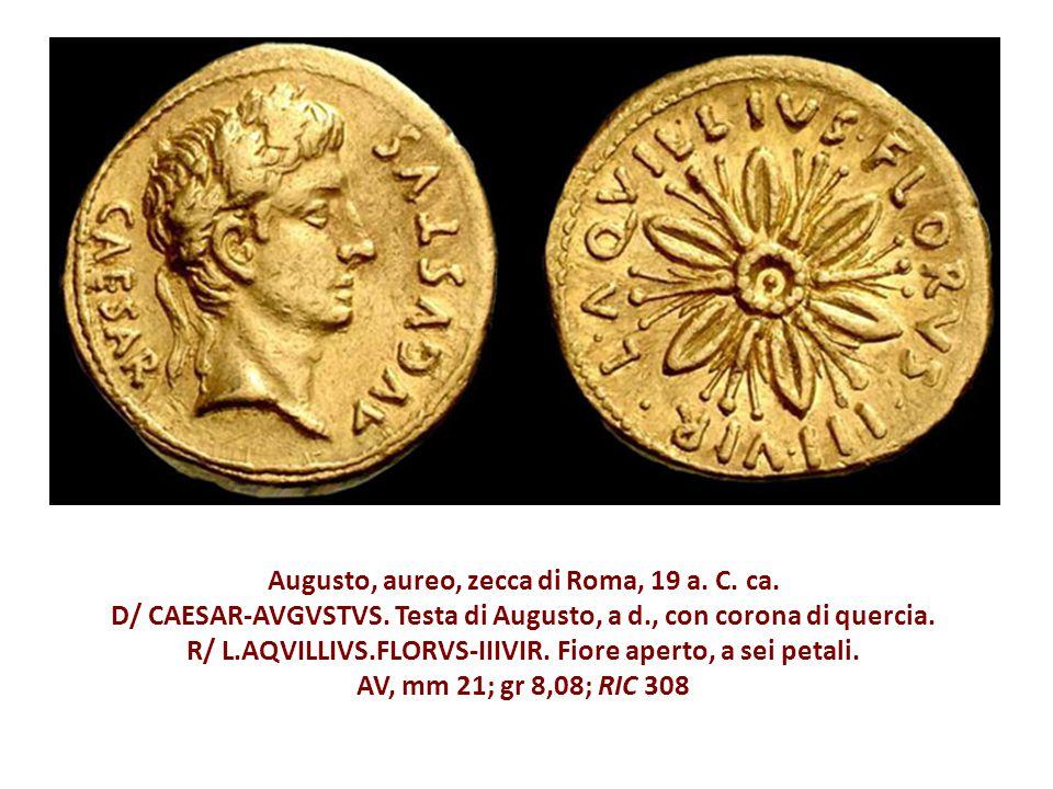 Augusto, aureo, zecca di Roma, 19 a. C. ca. D/ CAESAR-AVGVSTVS