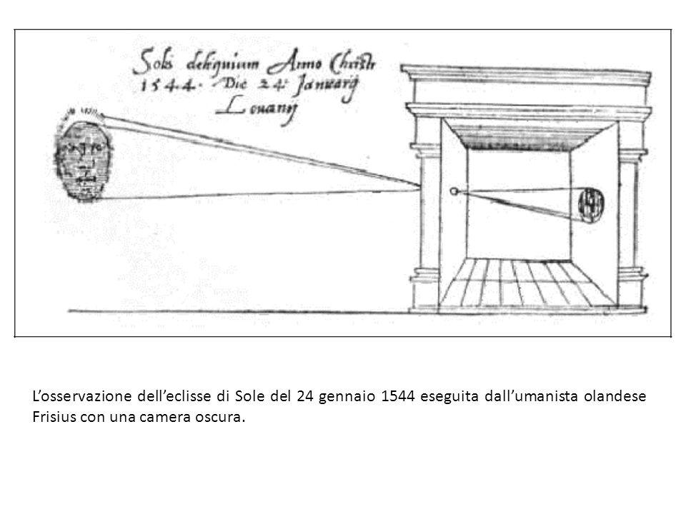 L'osservazione dell'eclisse di Sole del 24 gennaio 1544 eseguita dall'umanista olandese Frisius con una camera oscura.