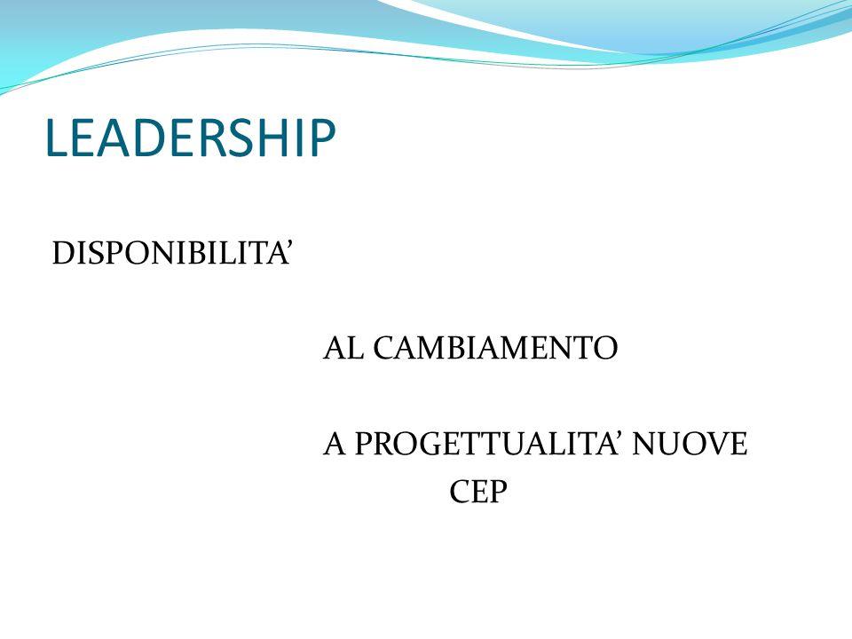 LEADERSHIP DISPONIBILITA' AL CAMBIAMENTO A PROGETTUALITA' NUOVE CEP