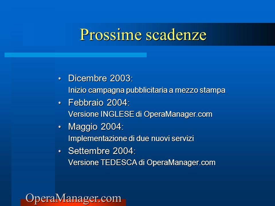 Prossime scadenze Dicembre 2003: Febbraio 2004: Maggio 2004: