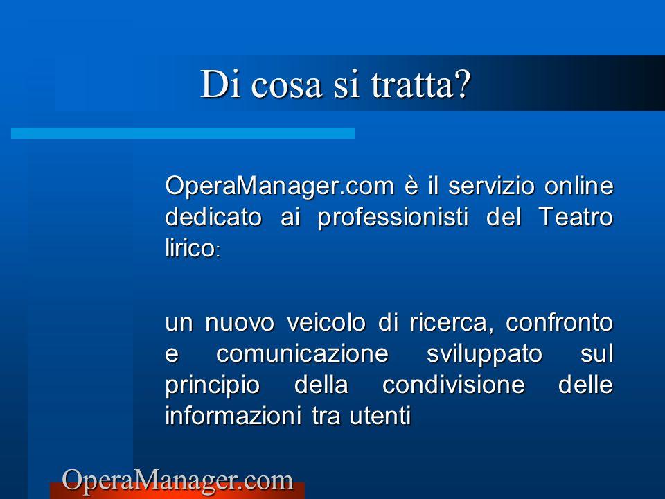 Di cosa si tratta OperaManager.com è il servizio online dedicato ai professionisti del Teatro lirico: