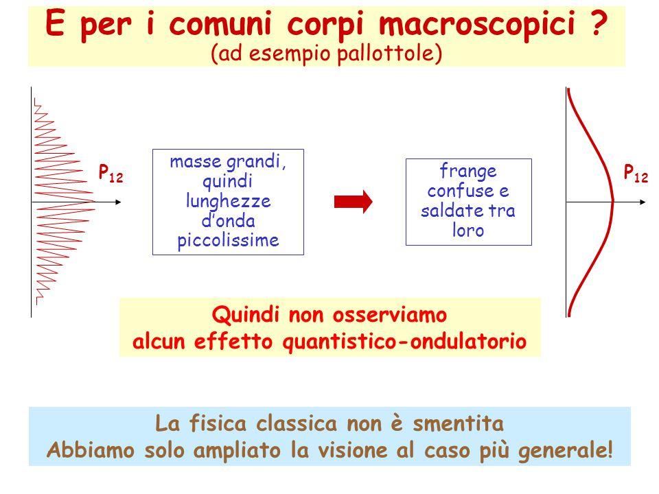 E per i comuni corpi macroscopici (ad esempio pallottole)