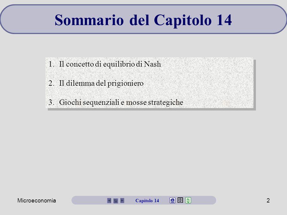 Sommario del Capitolo 14 Il concetto di equilibrio di Nash