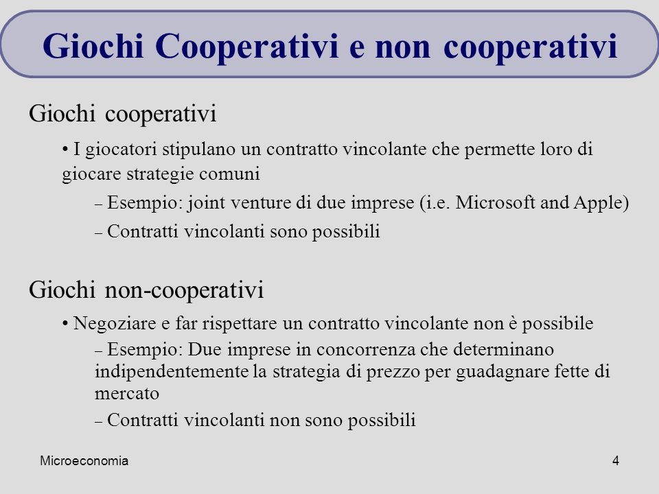 Giochi Cooperativi e non cooperativi