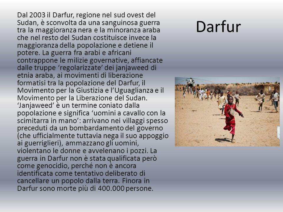 Dal 2003 il Darfur, regione nel sud ovest del Sudan, è sconvolta da una sanguinosa guerra tra la maggioranza nera e la minoranza araba che nel resto del Sudan costituisce invece la maggioranza della popolazione e detiene il potere. La guerra fra arabi e africani contrappone le milizie governative, affiancate dalle truppe 'regolarizzate' dei janjaweed di etnia araba, ai movimenti di liberazione formatisi tra la popolazione del Darfur, il Movimento per la Giustizia e l'Uguaglianza e il Movimento per la Liberazione del Sudan. 'Janjaweed' è un termine coniato dalla popolazione e significa 'uomini a cavallo con la scimitarra in mano': arrivano nei villaggi spesso preceduti da un bombardamento del governo (che ufficialmente tuttavia nega il suo appoggio ai guerriglieri), ammazzano gli uomini, violentano le donne e avvelenano i pozzi. La guerra in Darfur non è stata qualificata però come genocidio, perché non è ancora identificata come tentativo deliberato di cancellare un popolo dalla terra. Finora in Darfur sono morte più di 400.000 persone.