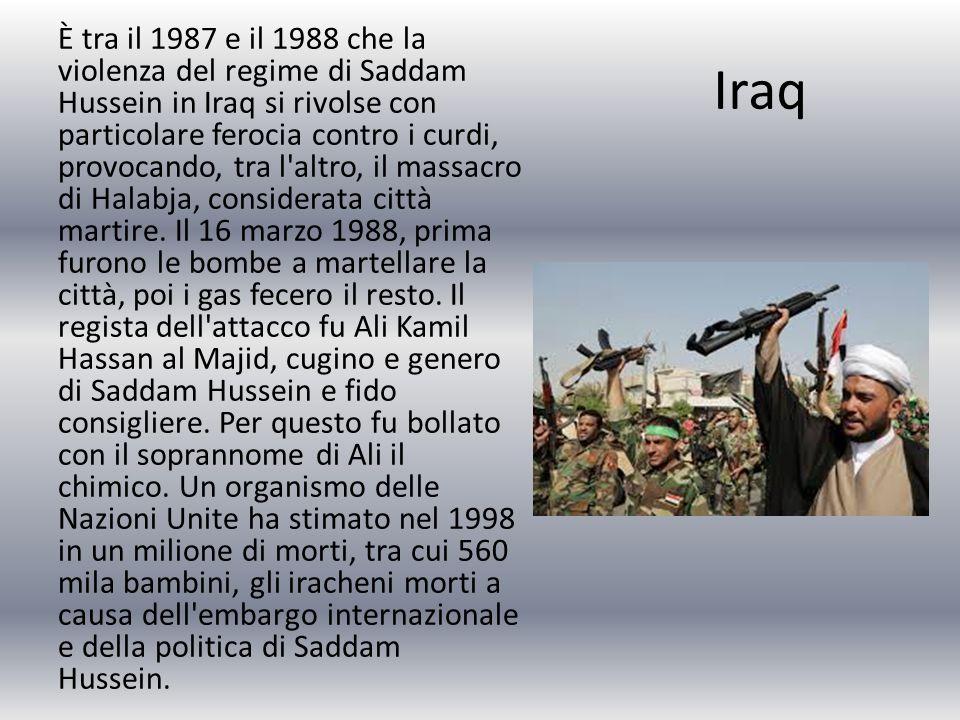 È tra il 1987 e il 1988 che la violenza del regime di Saddam Hussein in Iraq si rivolse con particolare ferocia contro i curdi, provocando, tra l altro, il massacro di Halabja, considerata città martire. Il 16 marzo 1988, prima furono le bombe a martellare la città, poi i gas fecero il resto. Il regista dell attacco fu Ali Kamil Hassan al Majid, cugino e genero di Saddam Hussein e fido consigliere. Per questo fu bollato con il soprannome di Ali il chimico. Un organismo delle Nazioni Unite ha stimato nel 1998 in un milione di morti, tra cui 560 mila bambini, gli iracheni morti a causa dell embargo internazionale e della politica di Saddam Hussein.