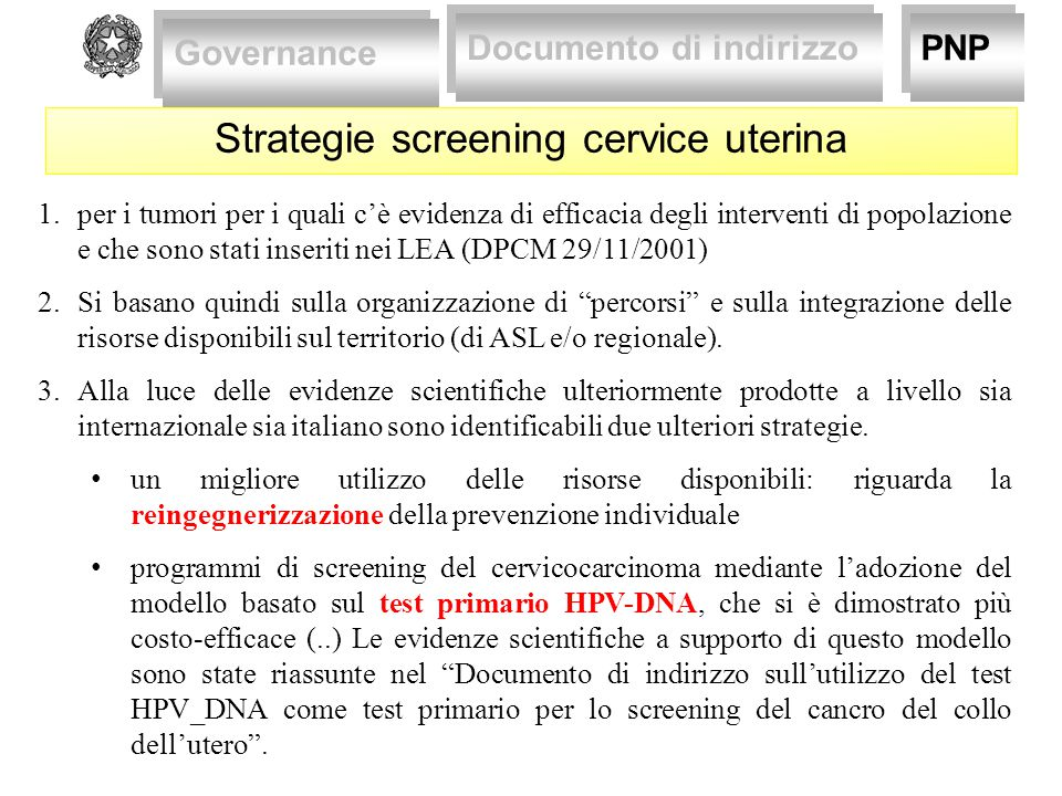 Strategie screening cervice uterina