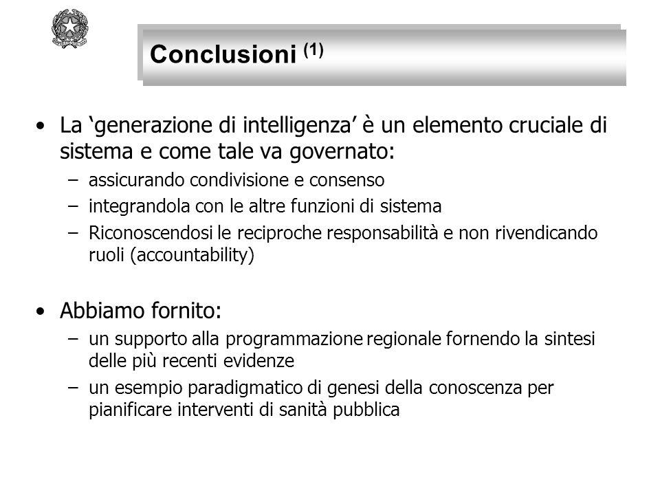 Conclusioni (1) La 'generazione di intelligenza' è un elemento cruciale di sistema e come tale va governato: