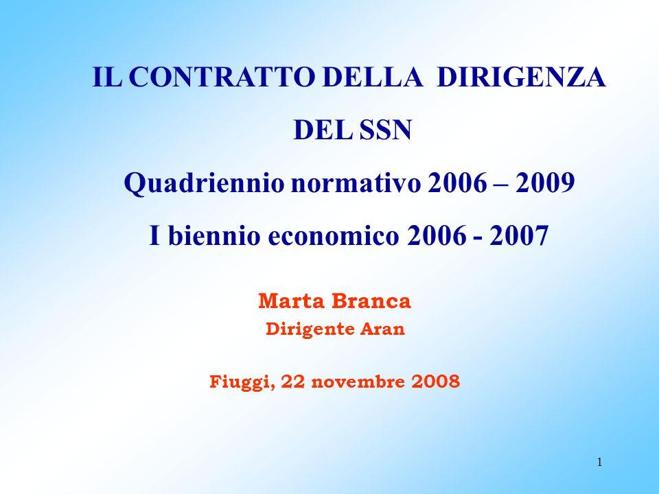 IL CONTRATTO DELLA DIRIGENZA Quadriennio normativo 2006 – 2009