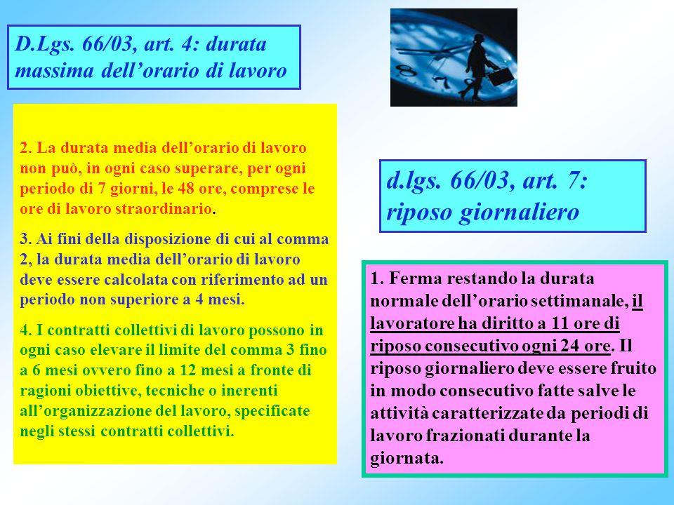 d.lgs. 66/03, art. 7: riposo giornaliero